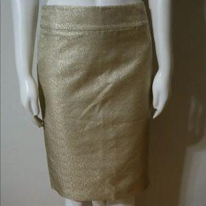 NWT J. Crew Metallic Gold Pencil Skirt